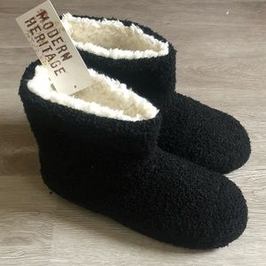 Shoes - Women's boot slippers, black terry w/ Sherpa